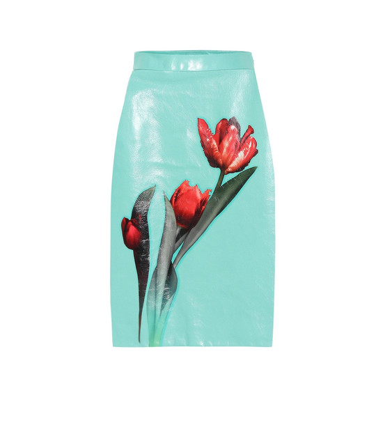 Prada Floral glossed-leather skirt in blue