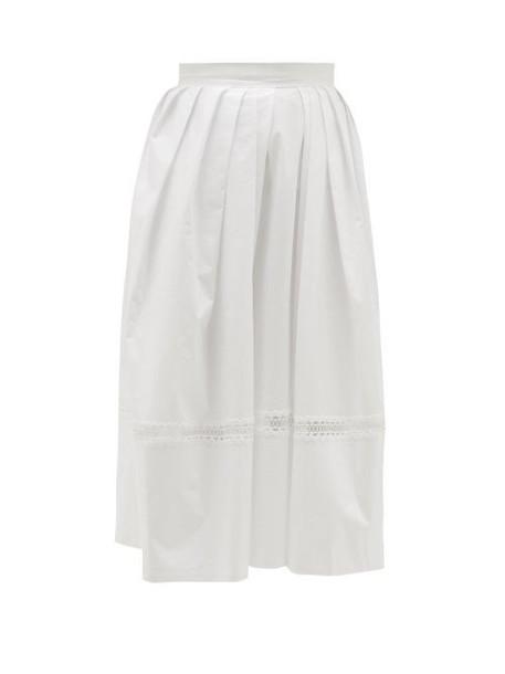 Thierry Colson - Kirov Lace-insert Cotton Midi Skirt - Womens - White