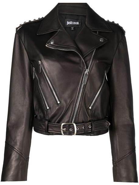 Just Cavalli studded shoulders biker jacket in black