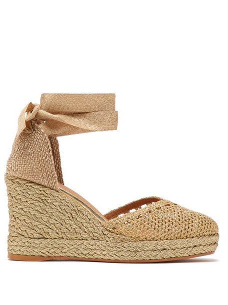 Castañer - Carrie Metallic Weave Espadrille Wedges - Womens - Gold