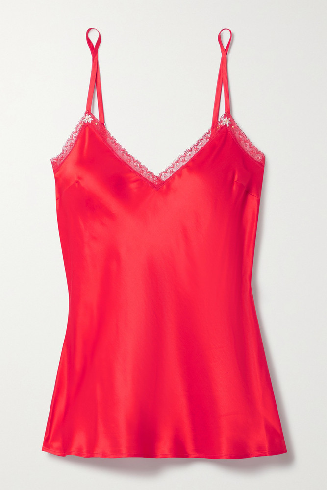 MORGAN LANE - Zoe Embroidered Lace-trimmed Satin Camisole - large in red