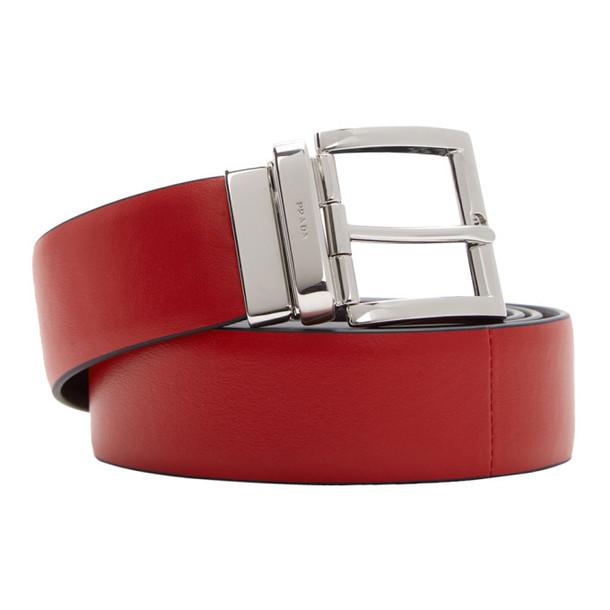 Prada Reversible Red & Black Double Belt