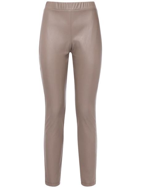MAX MARA Faux Leather Leggings in brown