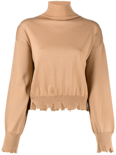 Antonella Rizza distressed turtle-neck jumper in brown
