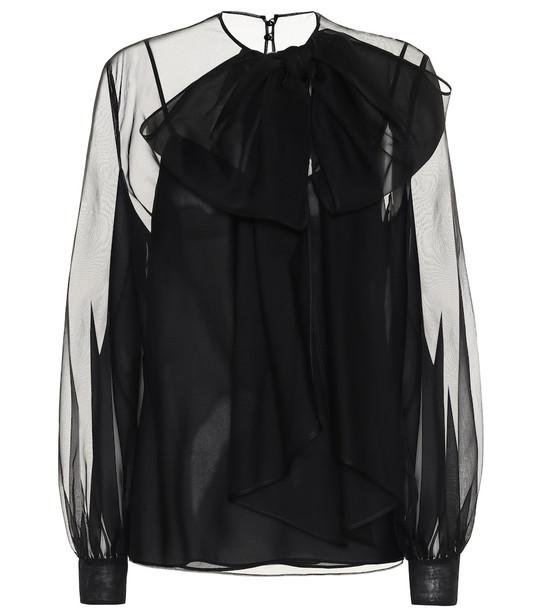 Valentino Silk-chiffon blouse in black