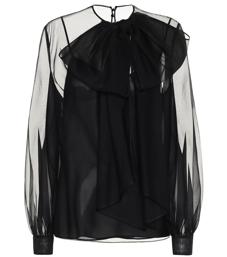 Valentino Silk-chiffon blouse in black
