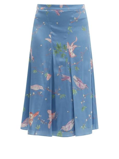Altuzarra - Caroline Bird Print Silk Knee Length Skirt - Womens - Blue Print