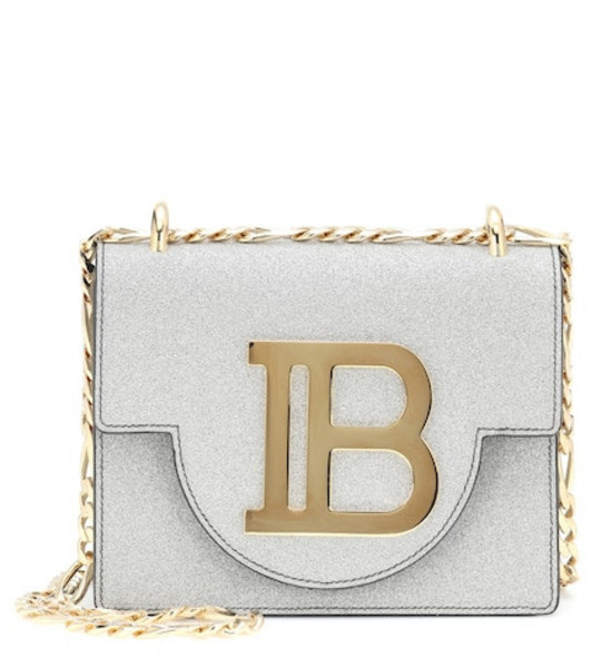 Balmain Bbag 18 glitter crossbody bag in silver
