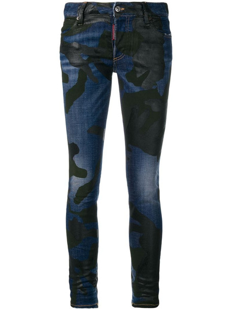 Dsquared2 camouflage print jeans in blue