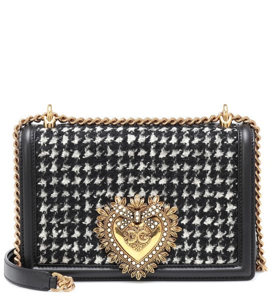 Dolce & Gabbana Small Devotion tweed shoulder bag in black