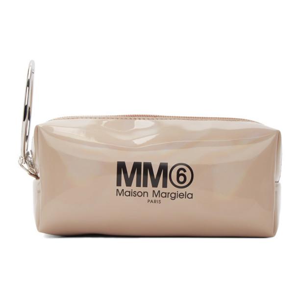 MM6 Maison Margiela Beige Iridescent Logo Keyring Pouch