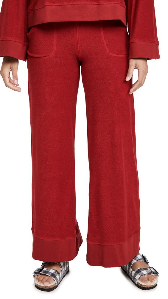 Warm Minimal Sweatpants in red