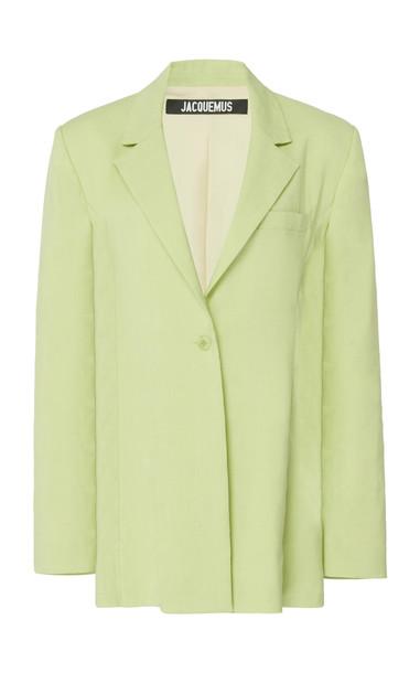 Jacquemus La Veste Tablier Belted Wool-Blend Blazer Size: 38 in green