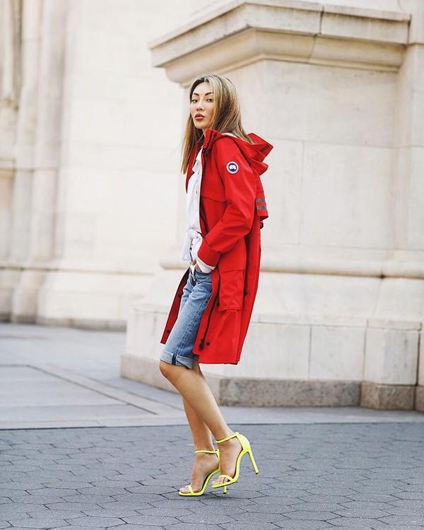 jacket red jacket sandal heels denim shorts white blouse