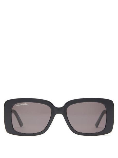 Balenciaga - Square Logo Plaque Acetate Sunglasses - Womens - Black