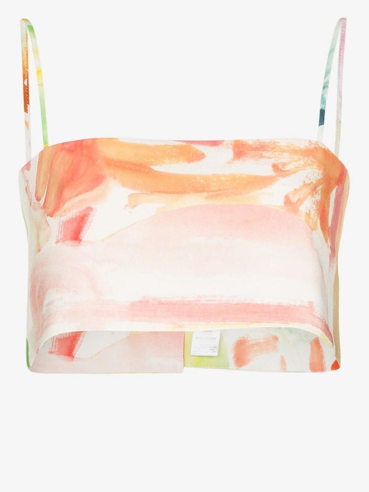 Rosie Assoulin Easy Bandeau printed crop top in white
