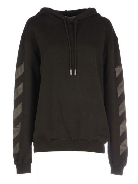 Off-White Diag Carryover Long Hoodie in black