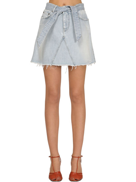 GIVENCHY Super Bleach Mini Skirt W/ Back Logo in blue
