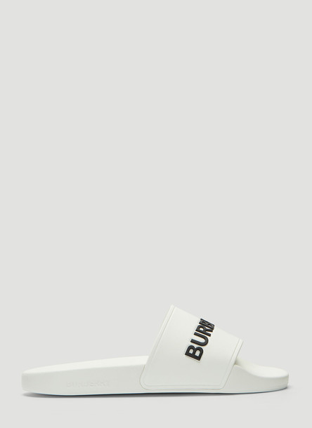 Burberry Logo Rubber Slides in White size EU - 40