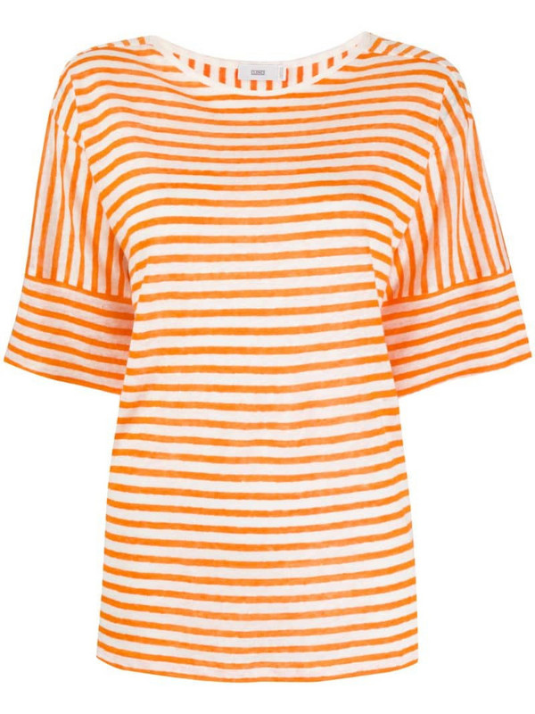 Closed striped-print oversized T-Shirt in orange
