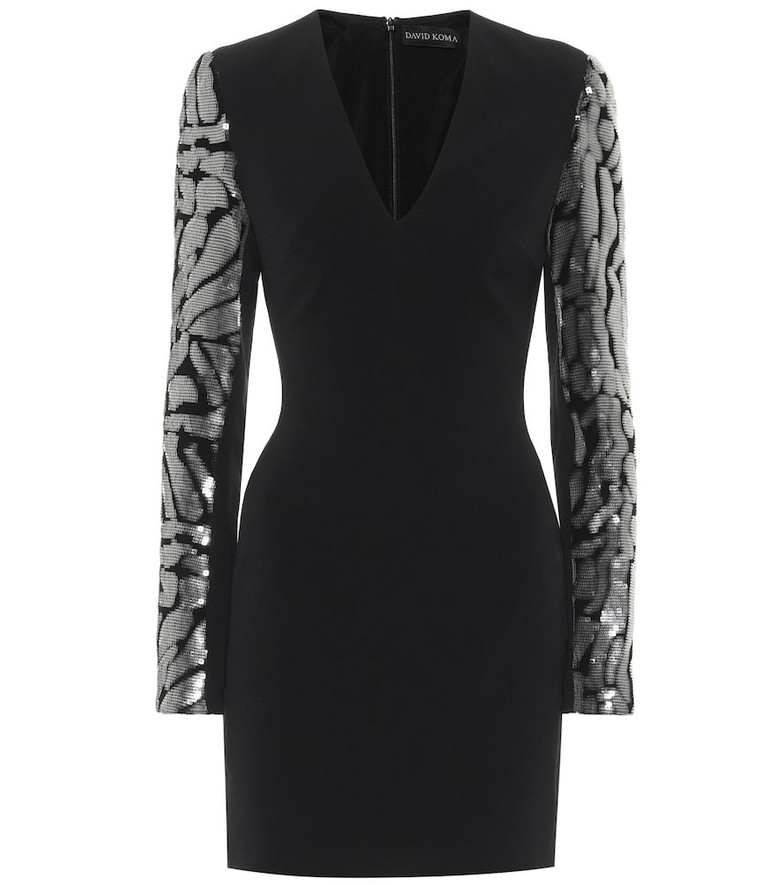 David Koma Exclusive to Mytheresa – Sequined crêpe minidress in black