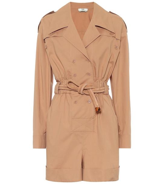 Fendi Cotton jumpsuit in brown