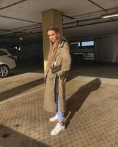 coat,trench coat,diesel,long coat,white sneakers,jeans,crossbody bag,black hoodie
