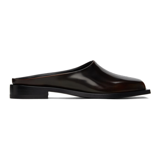 Peter Do Brown Square Toe Loafers in chocolate