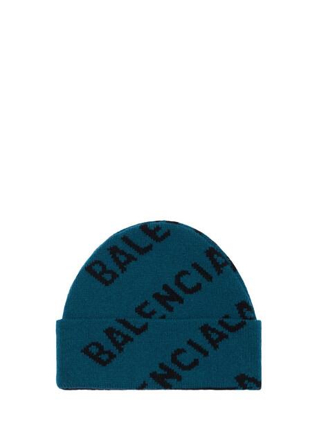 BALENCIAGA All Over Logo Wool Blend Beanie in petrol