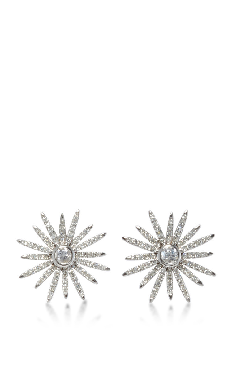 EF Collection 14K White Gold Diamond Starburst Stud Earrings in silver