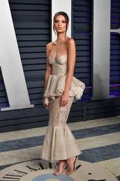 dress,gown,bustier,bustier dress,emily ratajkowski,model off-duty,celebrity style,red carpet dress,sandals,sandal heels