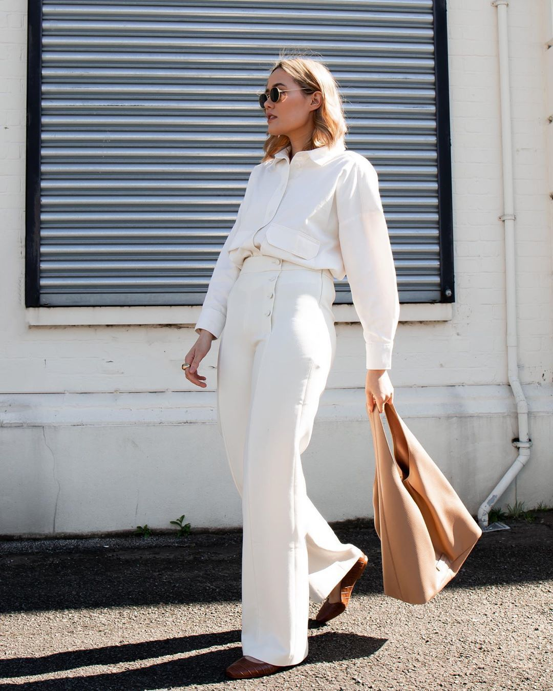 bag shoulder bag wide-leg pants white shirt ballet flats