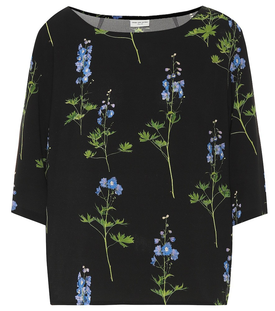 Dries Van Noten Floral crêpe top in black