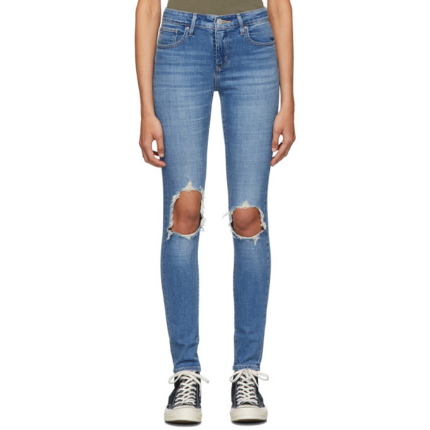 Levis Blue 721 High-Rise Skinny Jeans