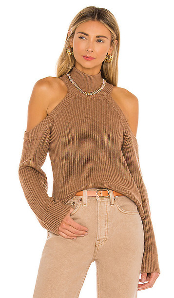 Lovers + Friends Lovers + Friends Cold Shoulder Ribbed Turtleneck in Tan in camel