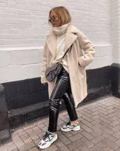 pants,black pants,sneakers,black vinyl pants,oversized coat,teddy bear coat,dior bag,crossbody bag,white sweater,turtleneck sweater