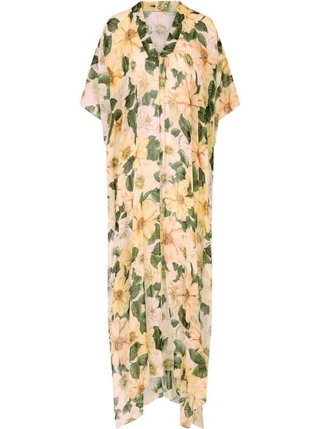Dolce & Gabbana floral-print silk maxi dress in neutrals