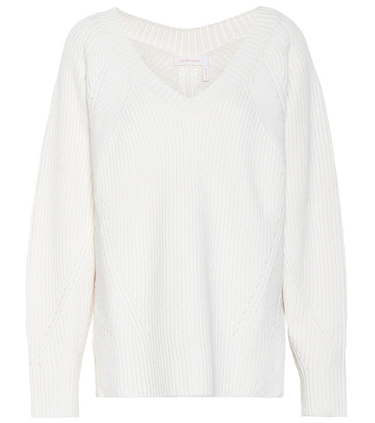 See By Chloé Ribbed-knit wool-blend sweater in white