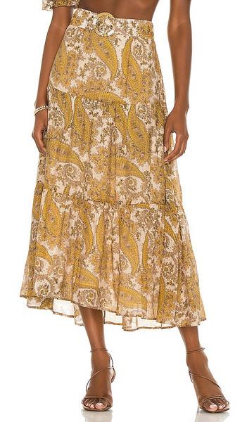 MINKPINK Sistan Belted Midi Skirt in Mustard in multi