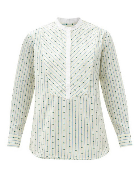 A.P.C. A.P.C. - Clelia Collarless Striped Cotton-blend Blouse - Womens - Ivory