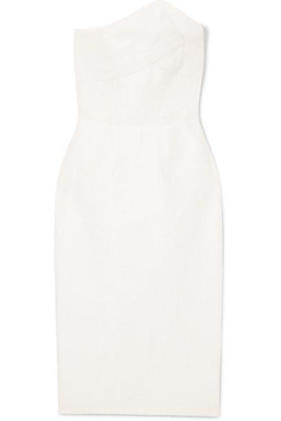 Roland Mouret - Senga Strapless Cloqué Dress - White