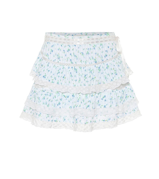 LoveShackFancy Floral cotton miniskirt in white