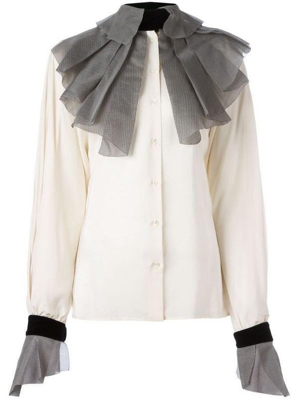 Gianfranco Ferré Pre-Owned pleated collar and cuffs shirt in neutrals