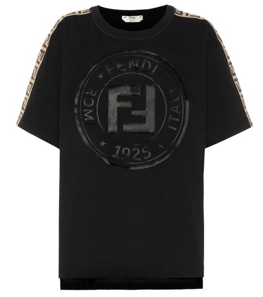 Fendi Logo printed cotton T-shirt in black