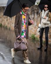 bag,loewe bag,white sneakers,pleated,pants,shirt,oversized,blazer,double breasted,umbrella