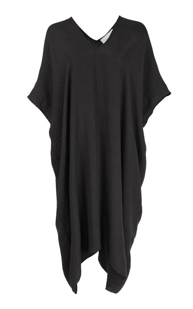 Marie France Van Damme Croc-Effect Silk-Jacquard Midi Dress in black
