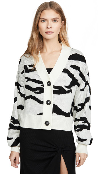 LNA Boxy Cardigan Sweater in ivory