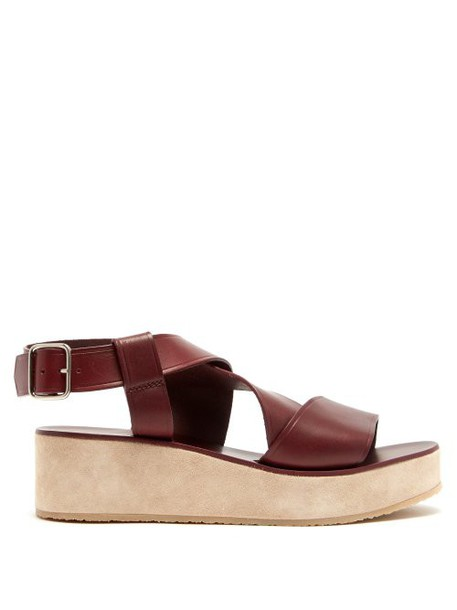 A.P.C. A.p.c. - Rita Leather And Suede Flatform Sandals - Womens - Burgundy