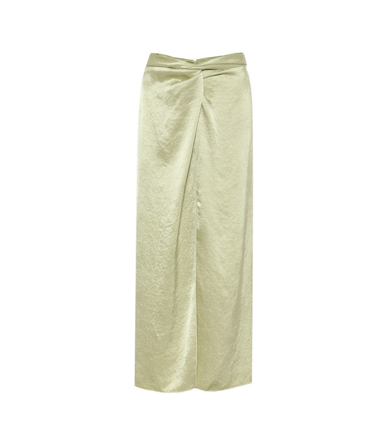 Nanushka High-rise hammered-satin skirt in green