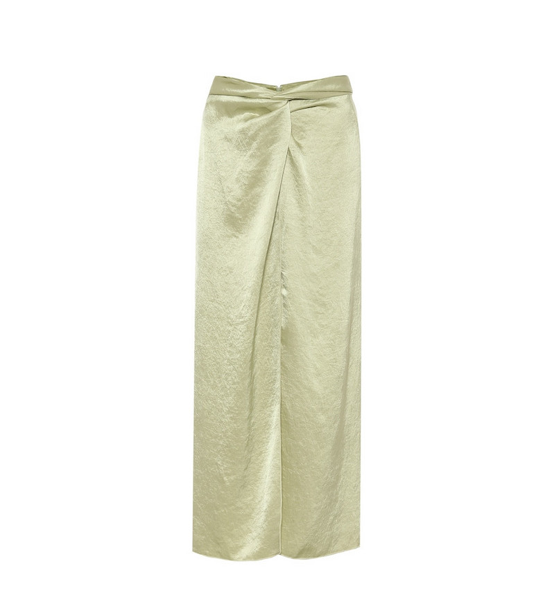 Nanushka High-rise hammered-satin skirt in green